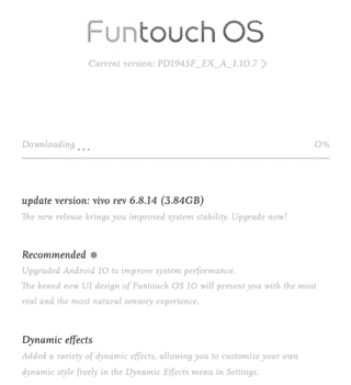 Funtouch Os 10 update for Vivo S1 Pro