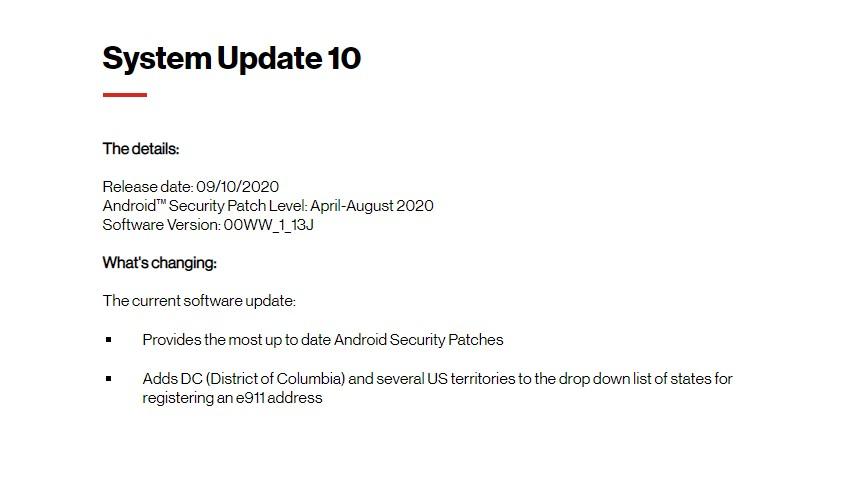July/August Security 2020 Patch -00WW_1_13J: Verizon Nokia 2 V Software Update Tracker