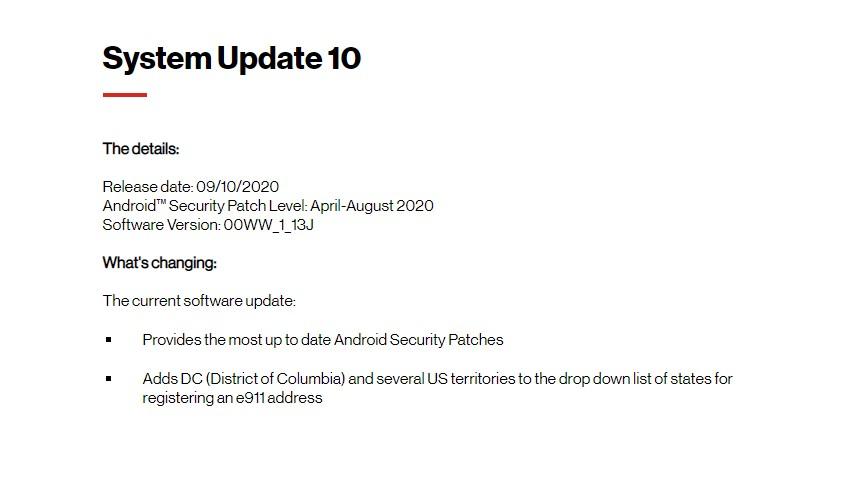 July/August Security 2020 Patch -00WW_1_13J: Verizon Nokia 2 V Software Update Tracker