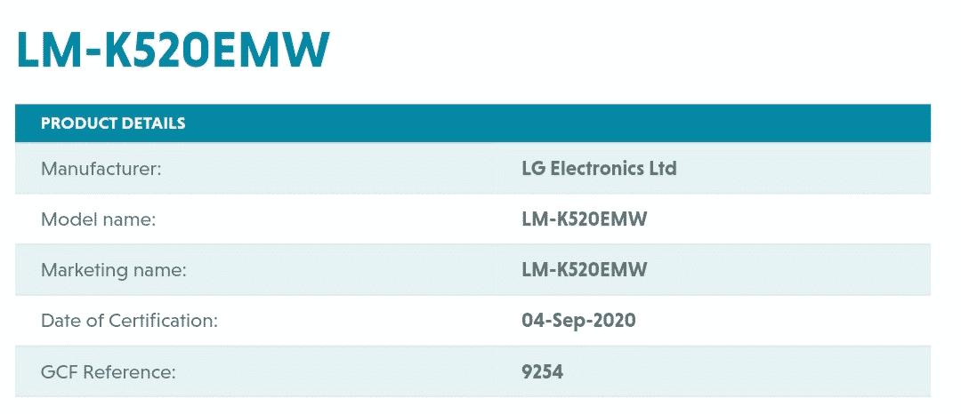 LG K52 - GCF certificate