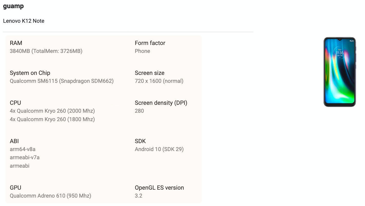 Lenovo K12 Note with some key specifications appears in Google Play Console listing