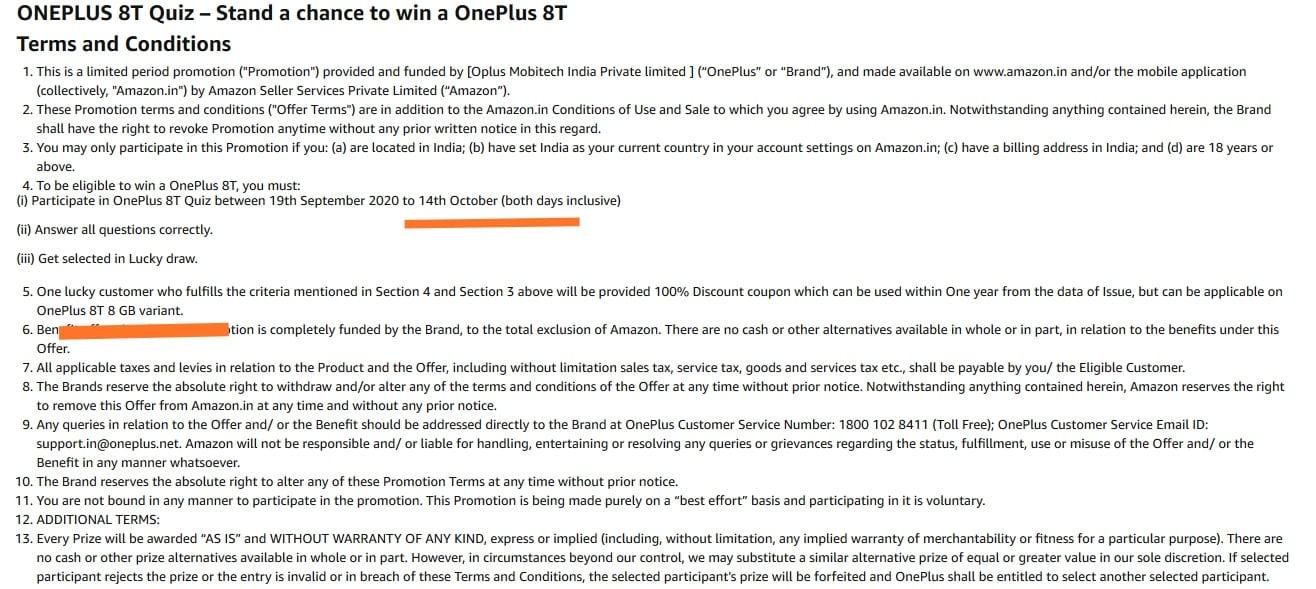 OnePlus 8T Quiz t&c