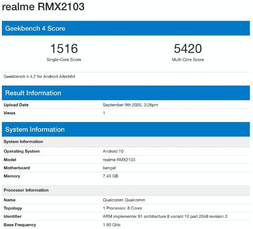 Realme 7i - Geekbench