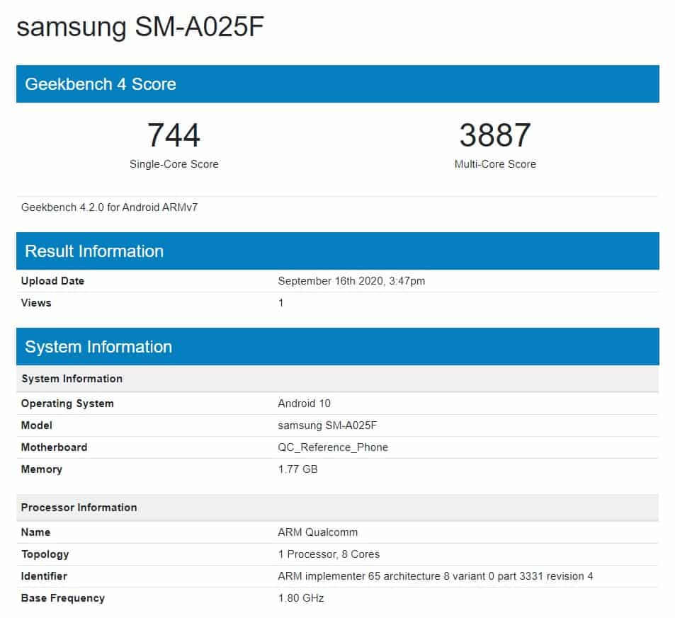 Samsung Galaxy A02 spotted on Geekbench with key specifications