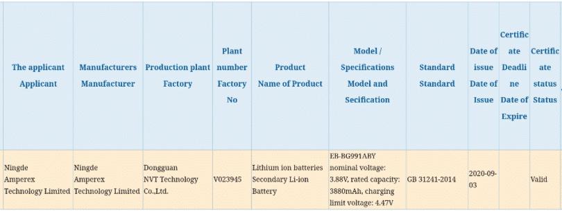 Samsung Galaxy S21 battery capacity