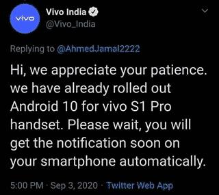 Vivo India tweet