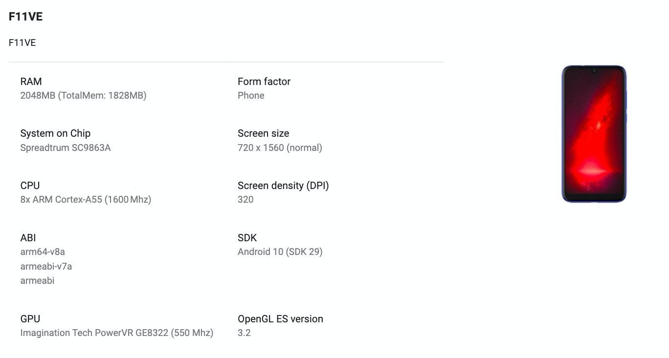 Gionee F11VE spotted on Google Play Console with key specifications