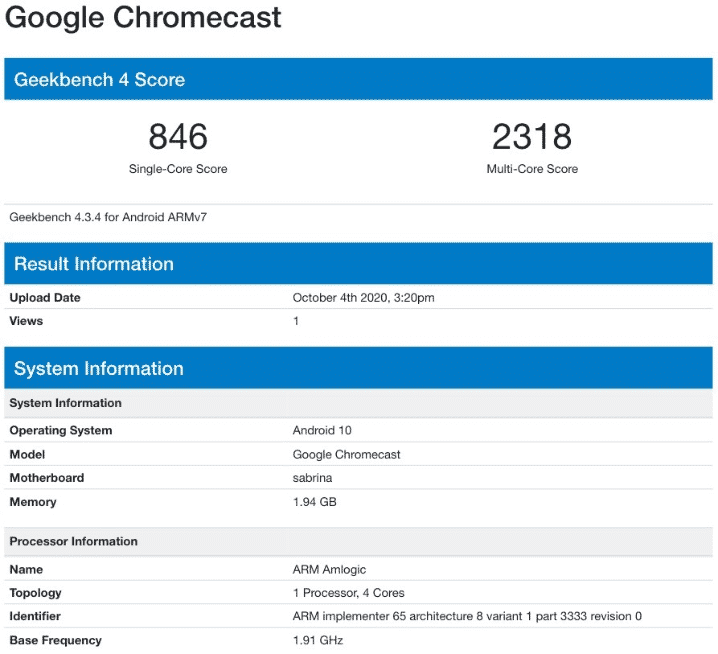 Google Chromecast (Sabrina) - Geekbench