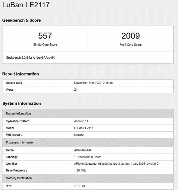 OnePlus 9 Geekbench report