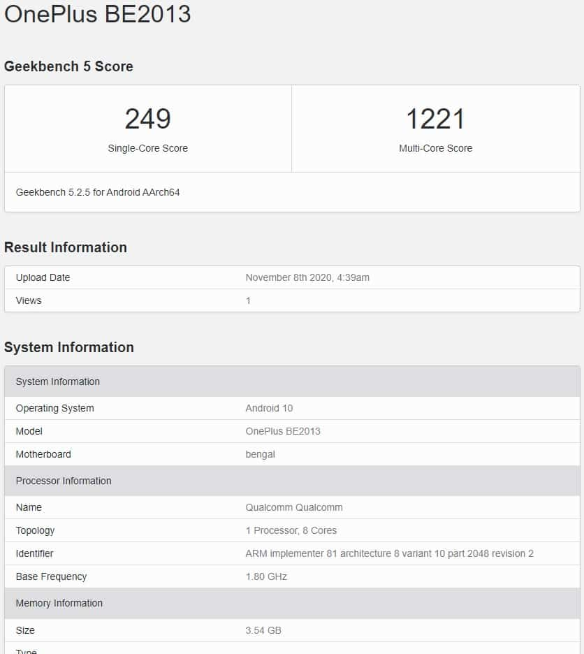 OnePlus Nord N100 Asian variant appears on Geekbench