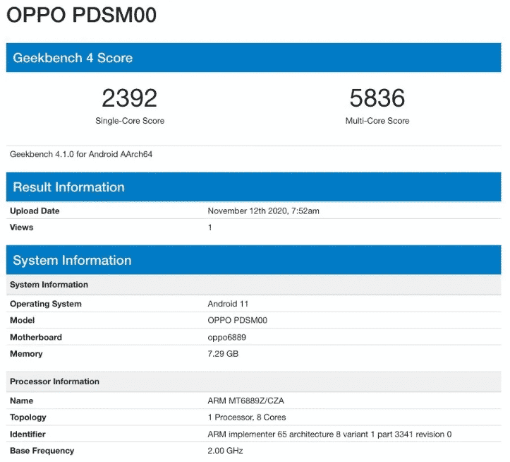 Oppo PSDM00 (Reno5 Pro) Geekbench result