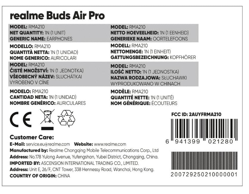 Realme Buds Air Pro - FCC certificate