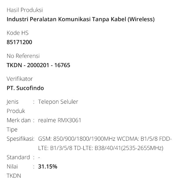 Realme RMX3061 TKDN certificate