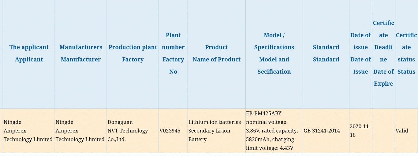 Samsung Galaxy M42 - 3C certification