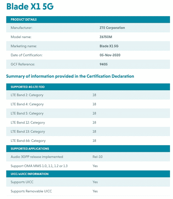 ZTE Blade X1 5G - GCF certificate