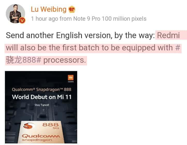 Lu Weibing weibo- Upcoming Redmi flagship phone to get Snapdragon 888 SoC