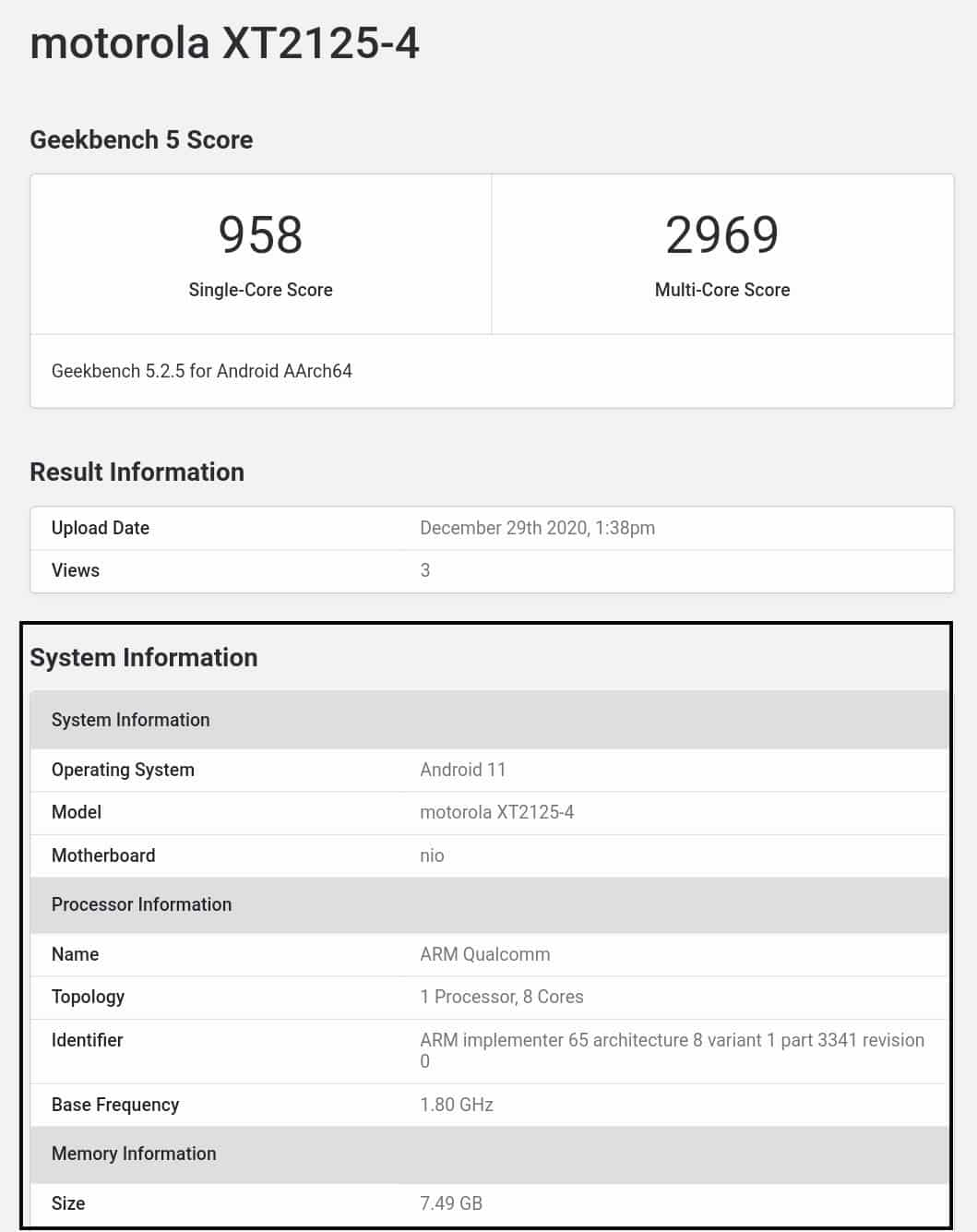 Motorola Nio spotted on Geekbench With 8GB RAM and Snapdragon 865