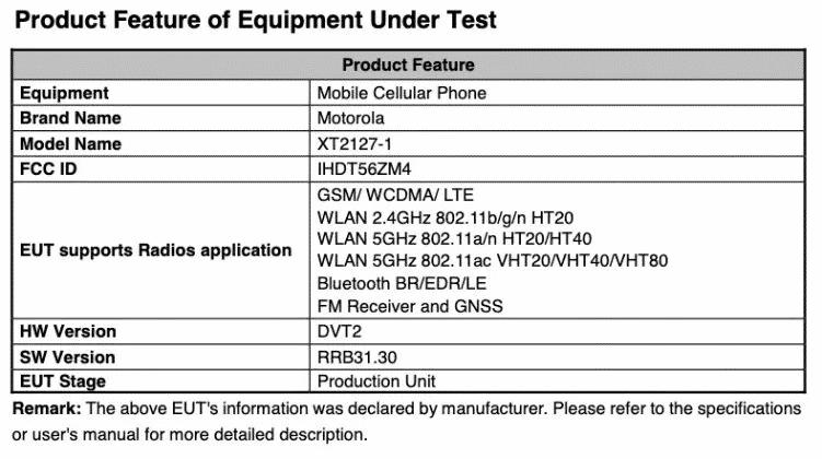 Motorola Capri - FCC details(1)