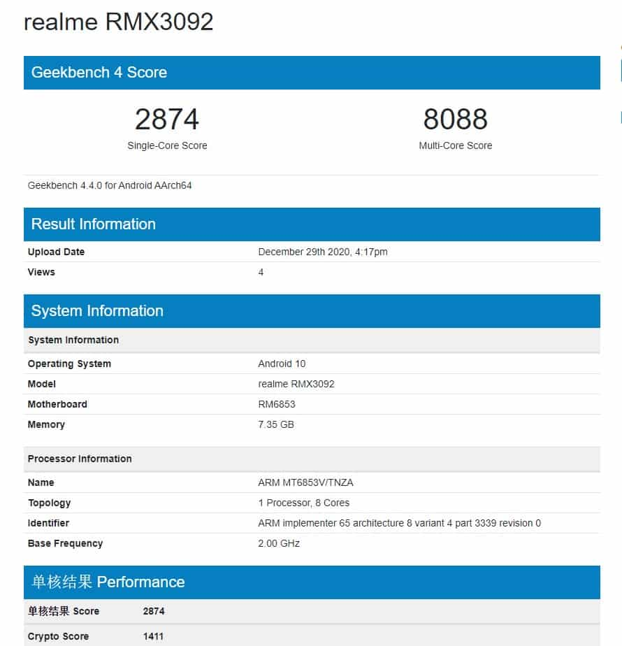 Alleged Realme 8 with model number RMX3092 spotted on Geekbench with 8GB RAM and Dimensity 720
