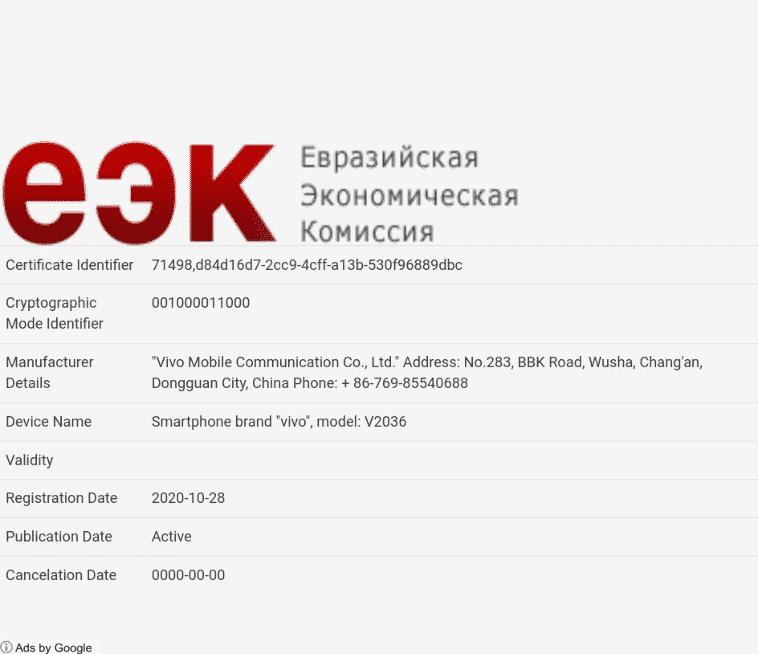 Vivo Y31 (4G) - EEC certification
