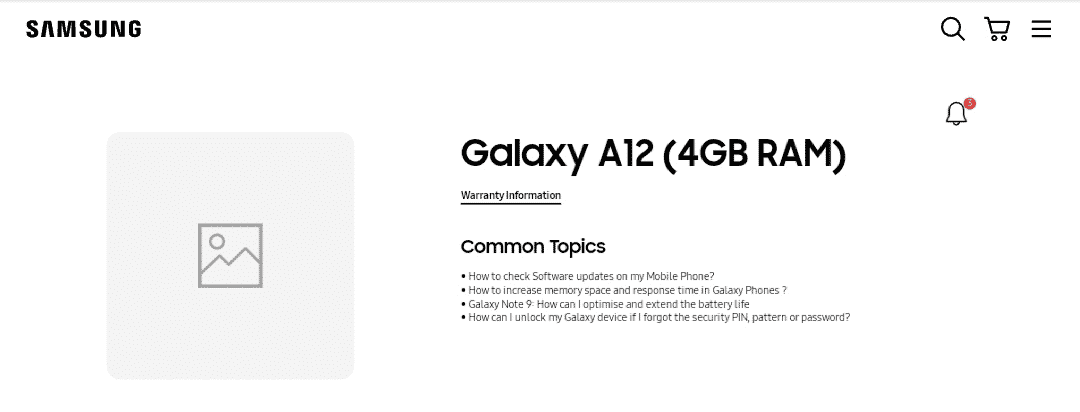 Samsung Galaxy A12 support page