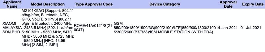 Xiaomi Mi 11 Lite - SIRIM certificate