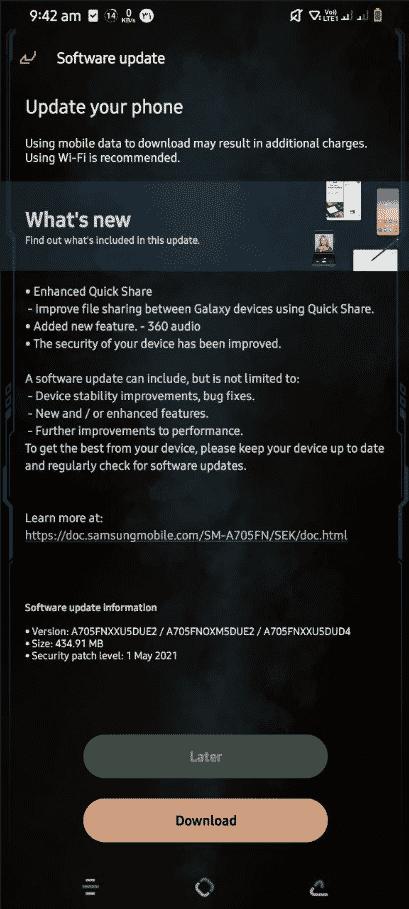 Galaxy A70 May 2021 update