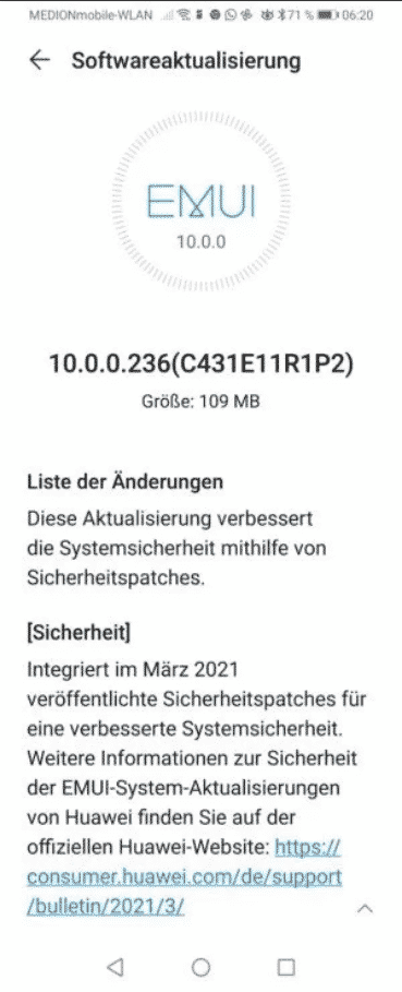 Huawei P Smart Z - March 2021 security update
