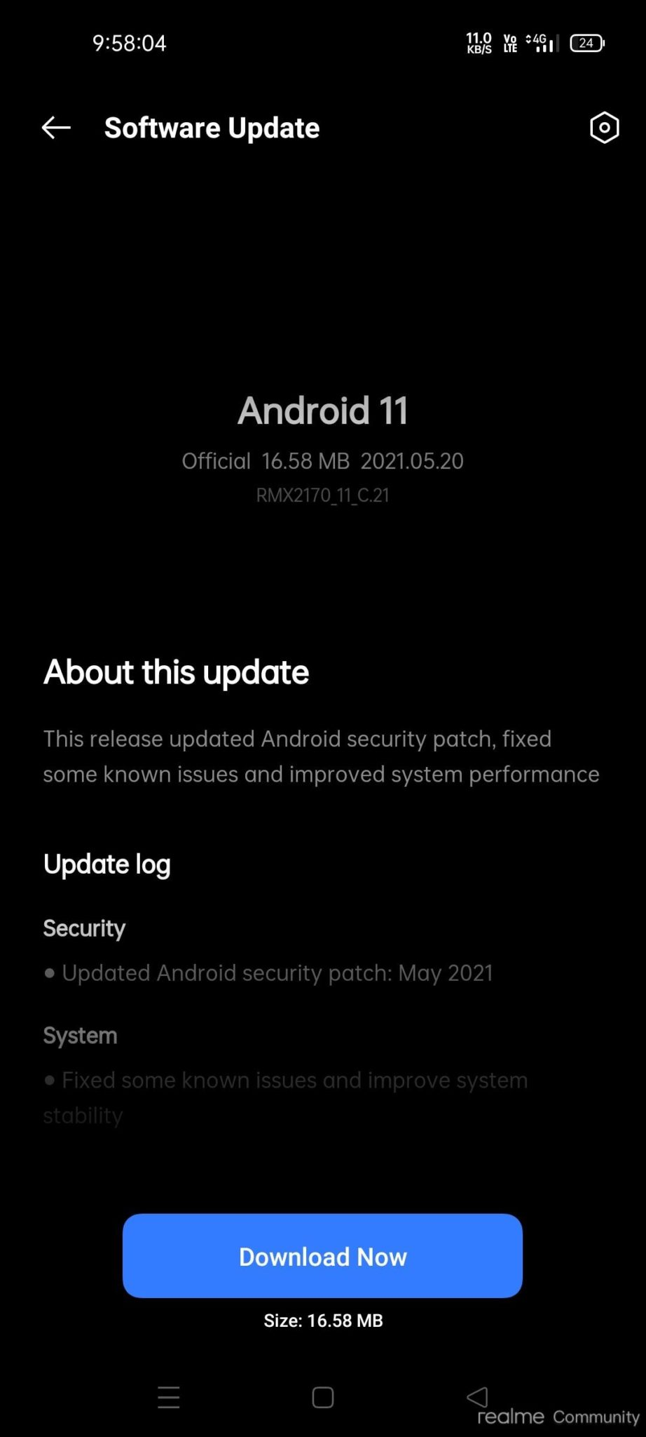 Realme 7 Pro May 2021 update changelog