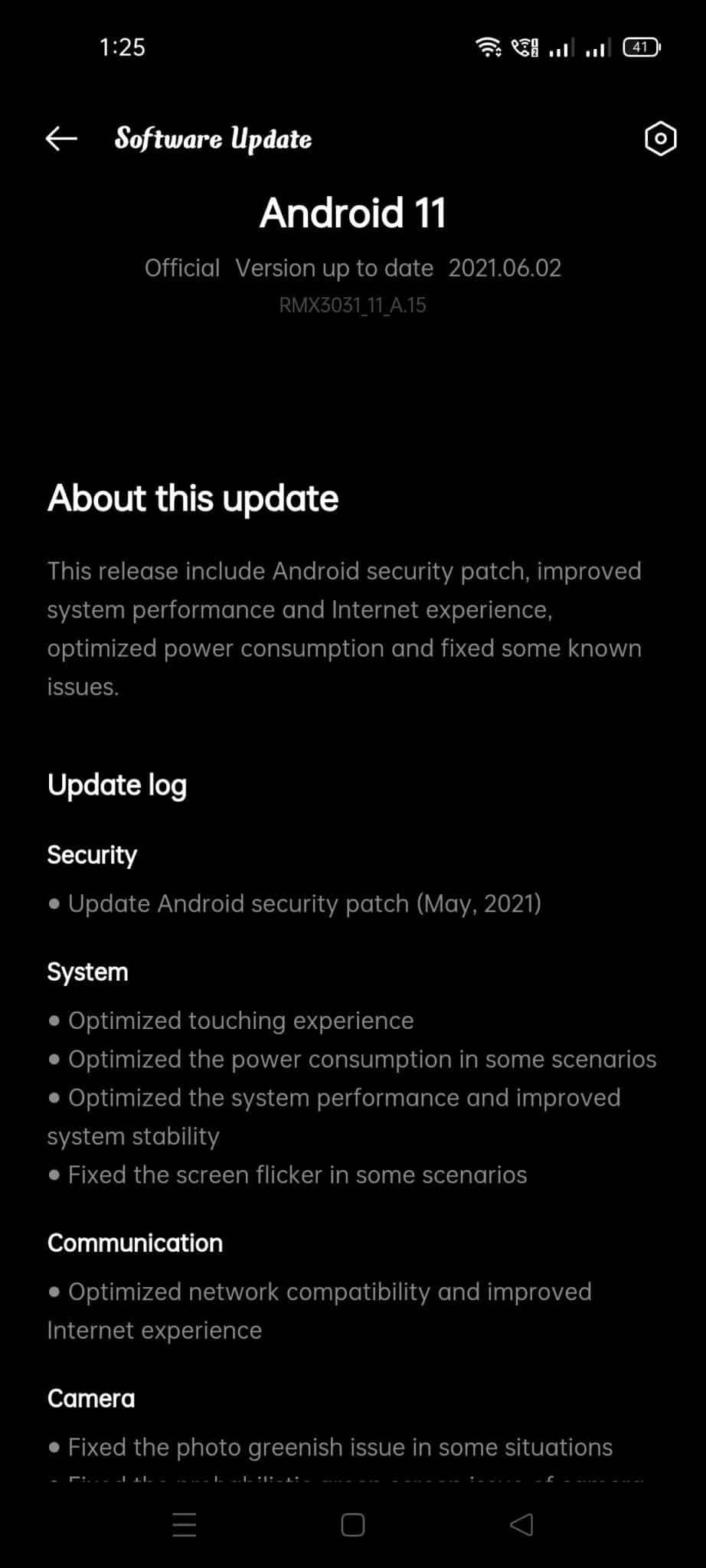 Realme X7 Max 5G RMX3031_11_A.15 update changelog